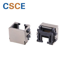 1 * 1 Port SMT RJ45 Connector 90 Degrees Nickel Plating Shielding Shell Without LEDs