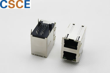 Female Magnetic RJ45 Jack Housing Material Thermoplastic / PBT / UL94V-0 With EMI