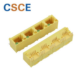 All Plastic PBT RJ45 Modular Jack Yellow Color Retention Strength 7.7KG.F MIN
