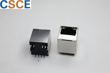 Dual Tab Down Magnetic RJ45 Jack / POE RJ45 Connector Insulation Resistance 500 MΩ Min