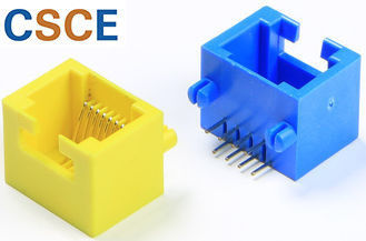 Yellow / Blue RJ45 Single Port 100 Base T Contact Material Phosphor Bronze For Computers