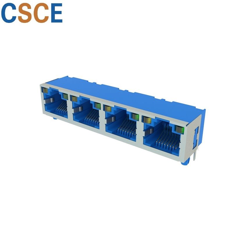 100 Base - T RJ45 Modular Jack 1*4 Ports Blue / Yellow / Black Color ROHS Certified supplier