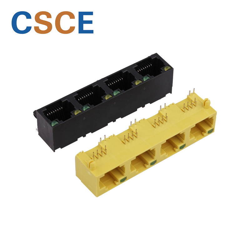 Yellow / Black RJ45 Female Connector , RJ45 PCB Jack 1*4 Ports For Ethernet Connector supplier